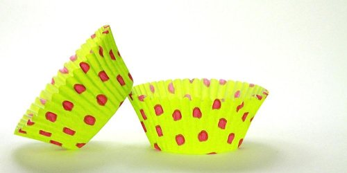 50pc Hot Dot Design Lime With Pink Dots Standard Size Cupcake Baking Cups Liners Wrappers