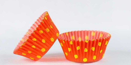 500pc Hot Dot Design Orange With Yellow Dots Standard Size Cupcake Baking Cups Liners Wrappers