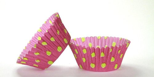 500pc Hot Dot Design Purple With Lime Dots Standard Size Cupcake Baking Cups Liners Wrappers