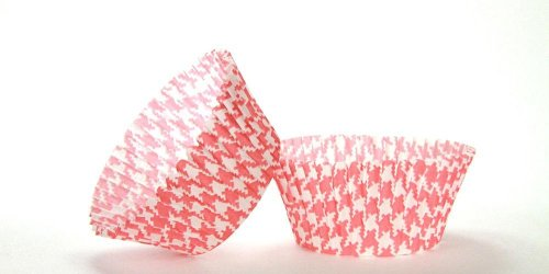 50pc Red Houndstooth Design Standard Size Cupcake Baking Cups Liners Wrappers