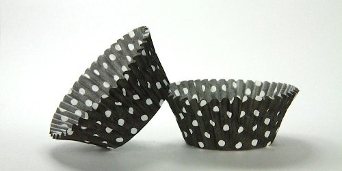 500pc Black Polka Dot Design Standard Size Cupcake Baking Cups Liners Wrappers