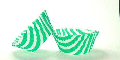 50pc Stripe Design Green Standard Size Cupcake Baking Cups Liners Wrappers