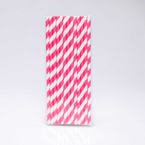 Paper Straw 25 pc - Stripes - Hot Pink