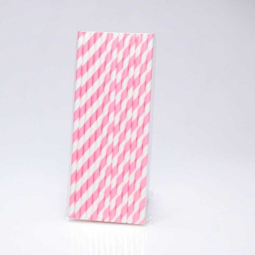 Paper Straw 25 pc - Stripes - Pink