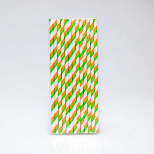 Paper Straw 25 pc - Stripes - Green And Orange