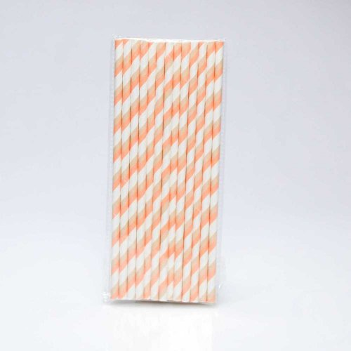 Paper Straw 25 pc - Stripes - Peach And Tan