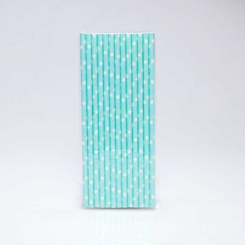 Paper Straw 25 pc - Stars - Light Blue With White Stars