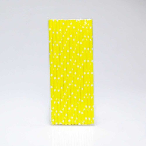 Paper Straw 25 pc - Stars - Yellow With White Stars