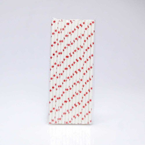 Paper Straw 25 pc - Stars - White With Red Stars