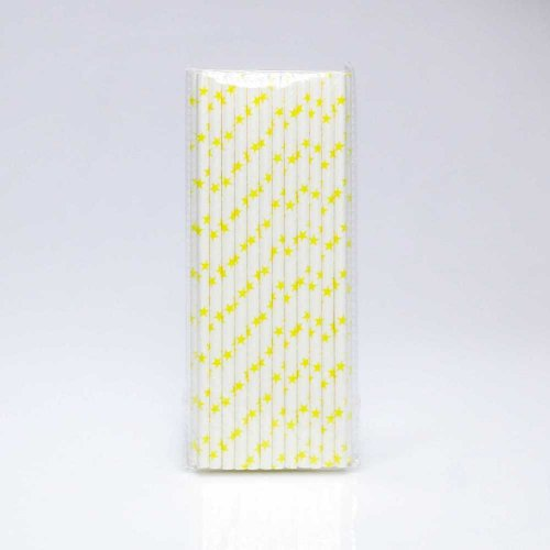 Paper Straw 25 pc - Stars - White With Yellow Stars