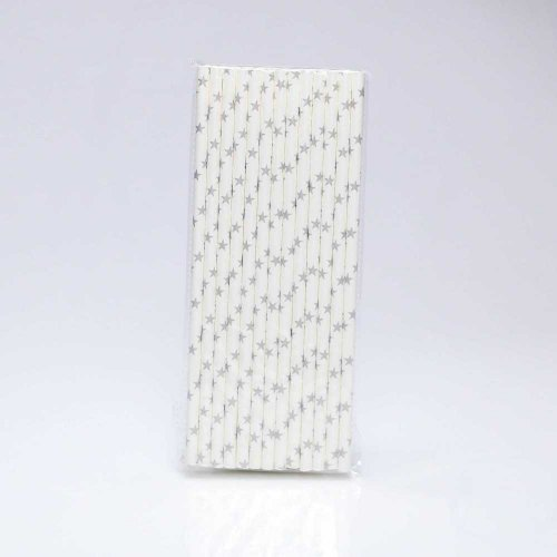 Paper Straw 25 pc - Stars - White With Silver Stars