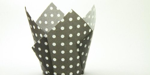 250pc Tulip Liner Black with White Dots