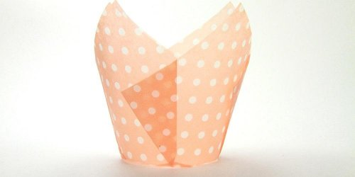 250pc Tulip Liner Peach with White Dots